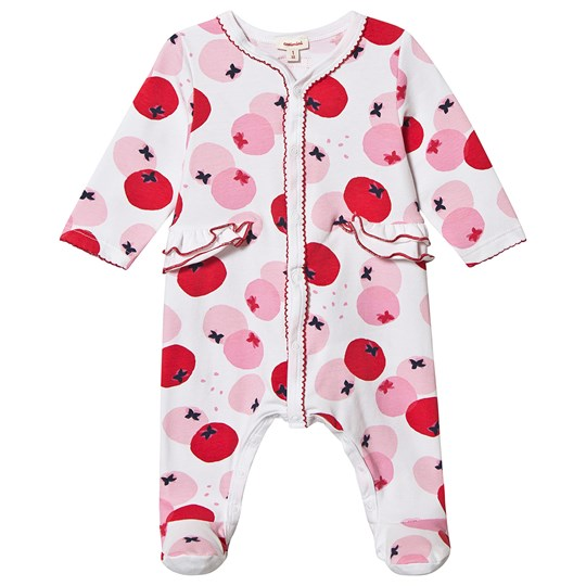 Catimini Tomato Print Footed Baby Body White/Pink 1