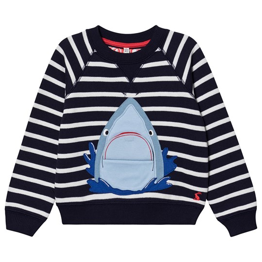 Tom Joule Ventura Applique Sweatshirt Navy Stripe Blue Stripe Shark