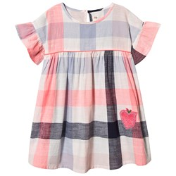 Billieblush Check Dress with Sequin Apple Pink/Blue/White