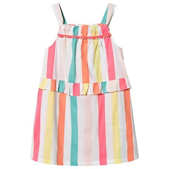 Billieblush Stripe Dress Pom Pom Trim White/Multi Z40