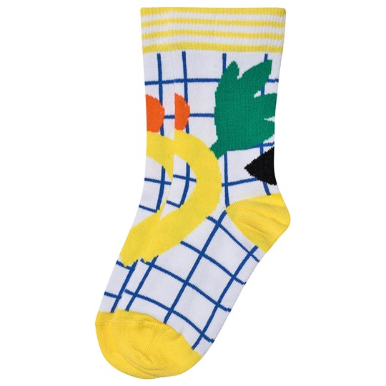Raspberry Plum Fruit Print Checkered Socks Yellow/Blue White