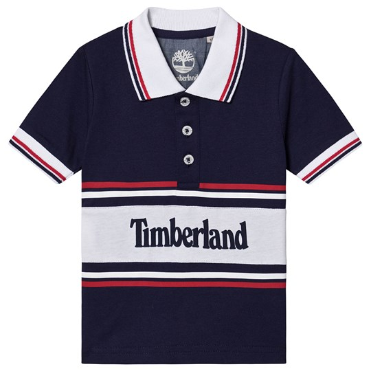 Timberland Color Block Branded Polo Shirt Navy 85T