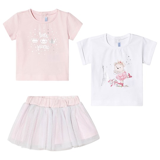 Mayoral 3-Piece Ballerina and Princess Tee and Tulle Skirt Set Pink/White 45