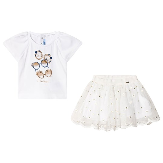 Mayoral Sunglasses Print Tee and Skirt Set White/Gold 1