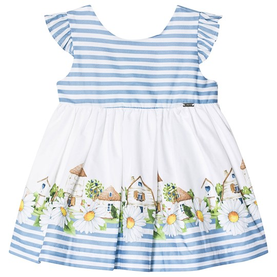 Mayoral House and Daisy Print Striped Dress Blue/White 83