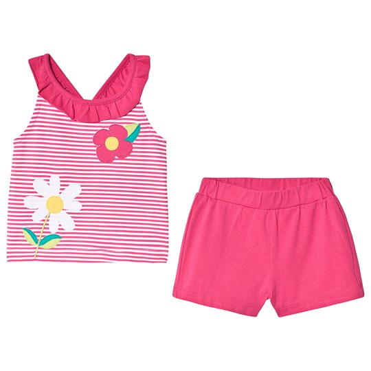 Mayoral Floral and Stripe Applique Top and Shorts Set Pink/White 93