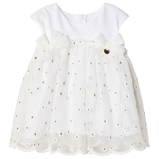 Mayoral Floral Embroidered Tulle and Jersey Dress White 1