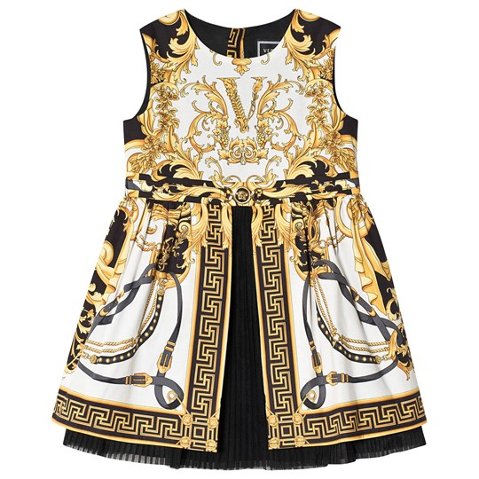Versace Baroque Pleated Dress White/Black A7001