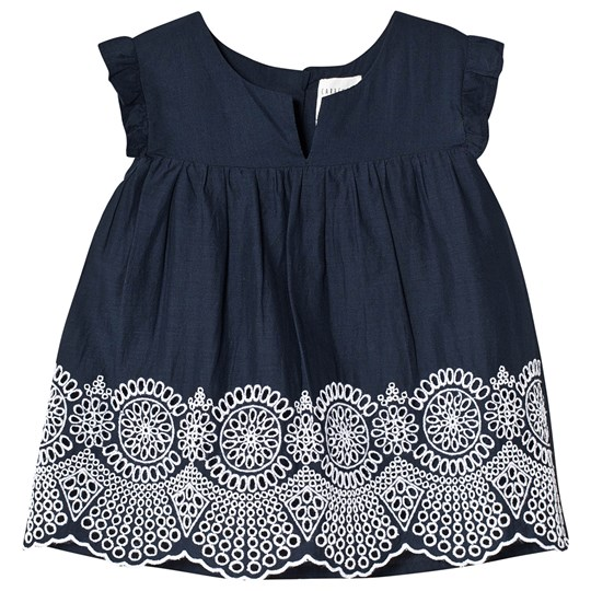 Carrément Beau Floral Embroidered Ruffle Blouse Navy 849