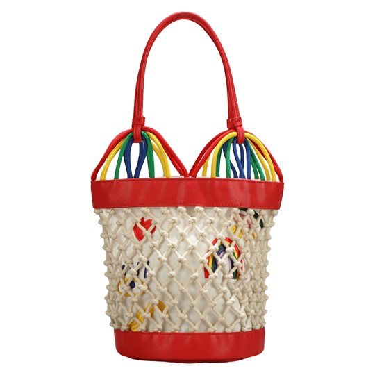 Stella McCartney Kids Hearts Embroidery Bucket Bag Tan/Rainbow 9232