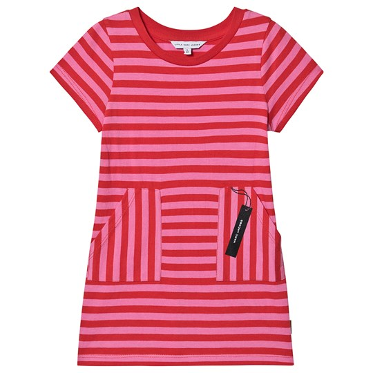 Little Marc Jacobs Tag Print T-Shirt Dress Pink Stripe S79