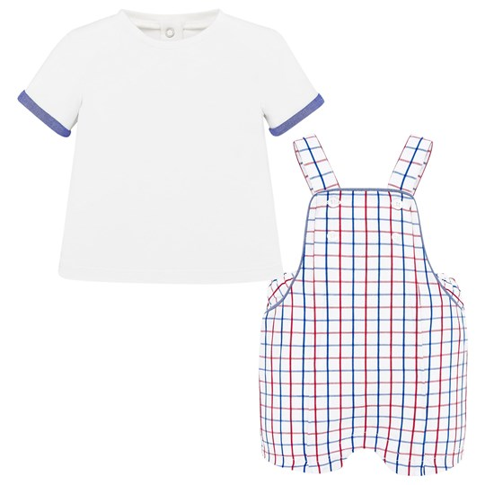 Mayoral Checked Romper and T-Shirt Set White/Red/Blue 53