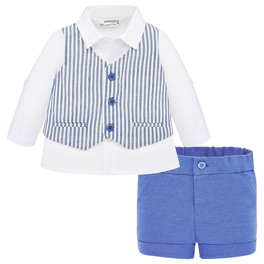 Mayoral Formal Shirt and Shorts Set White/Blue 2