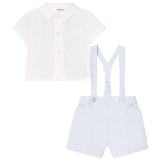 Mayoral Overalls Shirt and Shorts Set White/Blue 15