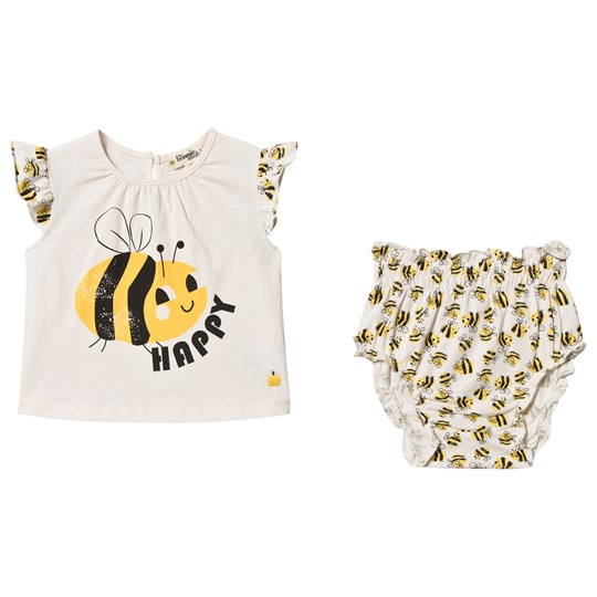 The Bonnie Mob Bee Happy Balearic Top & Bloomers Set Off White Bee Happy