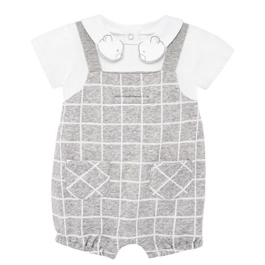 Mayoral Bear Checked Romper Grey/White 42