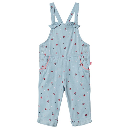 Billieblush All Over Cherry and Apple Print Overalls Blue Chambray Z40