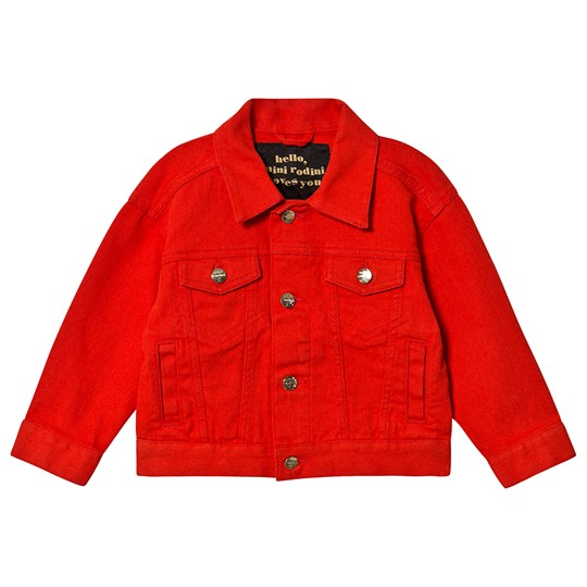 Mini Rodini Twill Teddybear Jeansjacka Röd Red