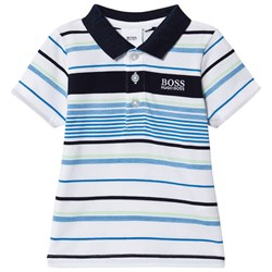 BOSS Striped Baby Polo White/Blue