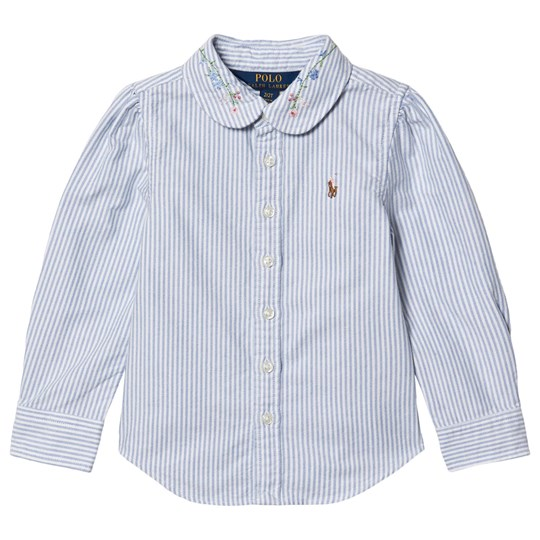 Ralph Lauren Oxford Shirt with Floral Embroidered Collar Blue/White Stripe 001