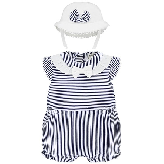 Mayoral Sailor Romper and Sun Hat Set Navy/White 48