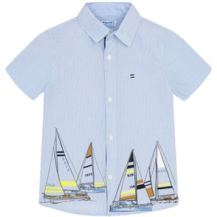 Mayoral Sailing Boat Stripe Skjorte BlåHvit Babyshop.no