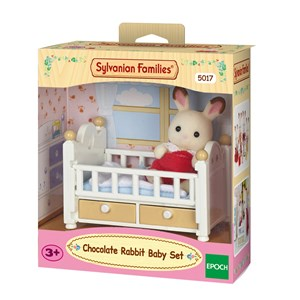 Image of Sylvanian Families Chocolate Rabbit Baby Set (Baby Bed) 3 - 10 years (1211707)