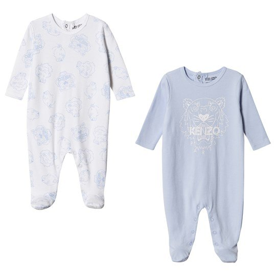 Kenzo Logo Footed Baby Body 2-Pack Blue/White 01