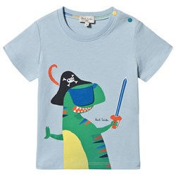 Paul Smith Junior Interactive Eye Patch Dino Aldo Tee Pale Blue