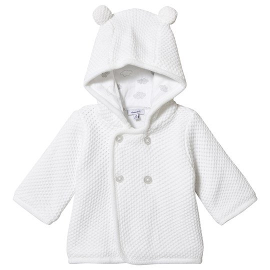 Absorba Moss Knitted Hooded Cardigan White 01