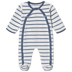 Absorba Stripe Velour Footed Baby Body Blue/White