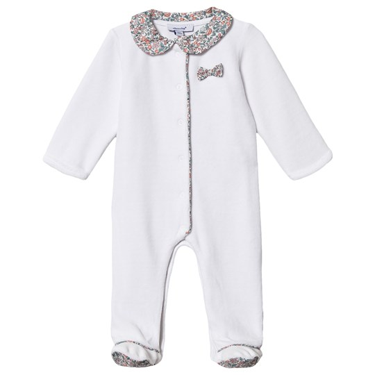 Absorba Liberty Print Velour Footed Baby Body Hvid 33