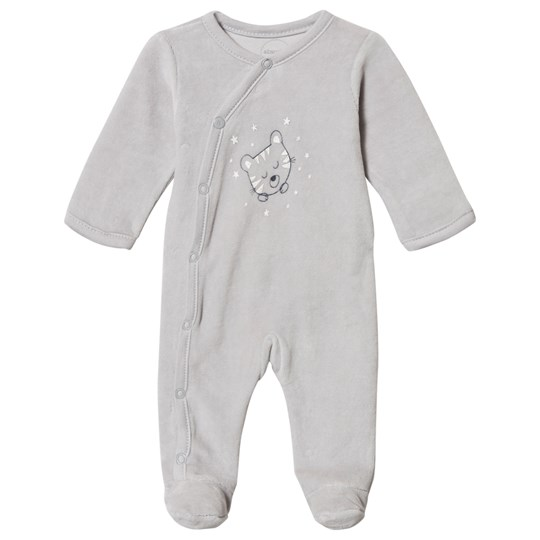 Absorba Tiger Print Velour Footed Baby Body Grey 21
