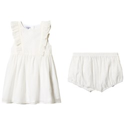 Absorba Polka Dot Frill Dress White/Yellow
