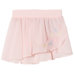 Mirella Embroidered Mesh Fixed Wrap Skirt Pink