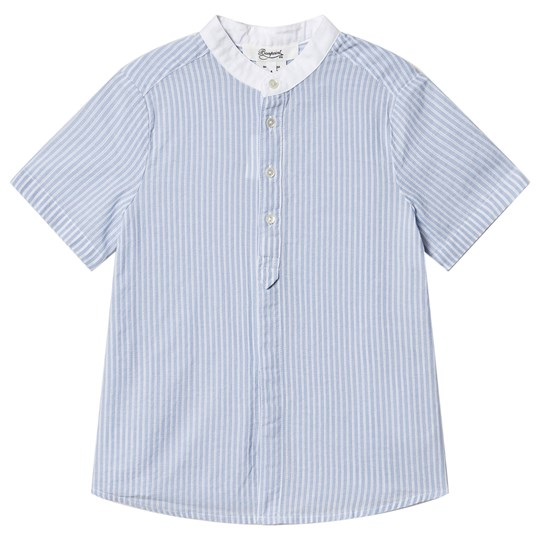 Bonpoint Stripe Short Sleeve Shirt Blue/Cream 211