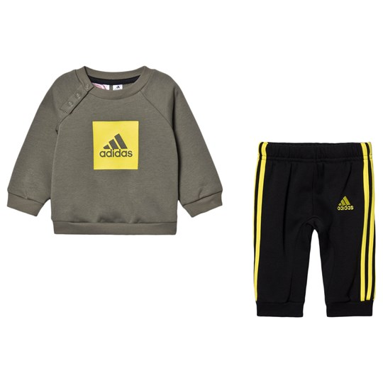 adidas Performance Logo Infants Sweater and Sweatpants Set Legacy Green/Black Top:legacy green/shock yellow Bottom:BLACK/SHOCK Y