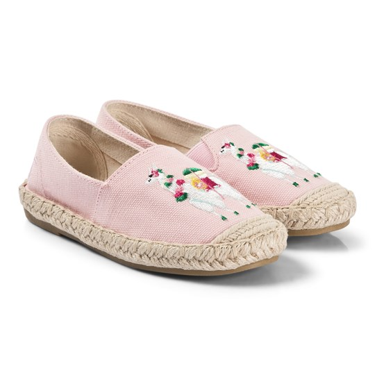 Tom Joule Shelbury Llama Embroidered Canvas Espadrilles Pink Pink