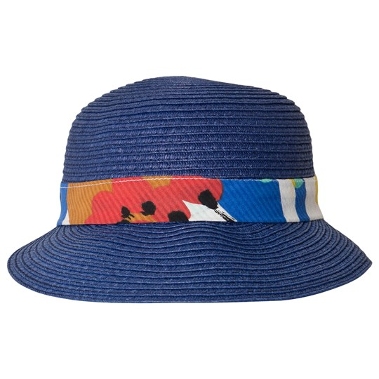 Catimini Straw Hat with Bill and Bow Blue 44