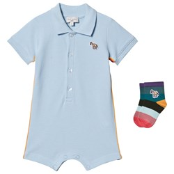 Paul Smith Junior Pique Romper with Socks in Gift Box Pale Blue