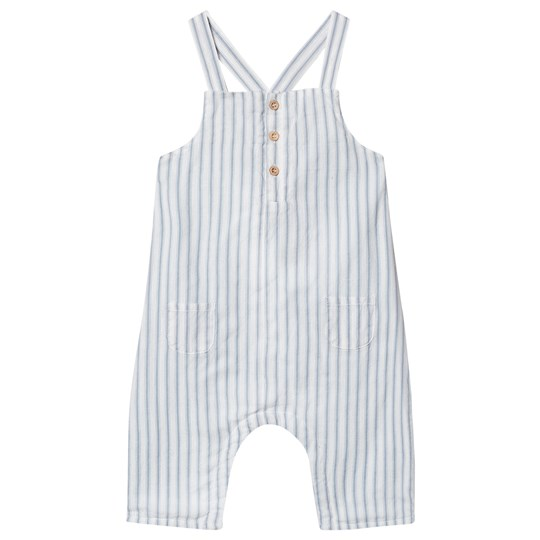 Cyrillus Stripe Button Up Emmery Overalls Blue Ciel/Ecru