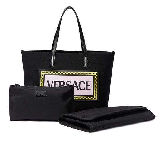 Versace Black Branded Changing Bag with Mat YS95