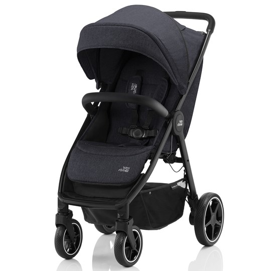 Britax B-Agile R Barnvagn Svart/Svart Black Shadow, Black Handle