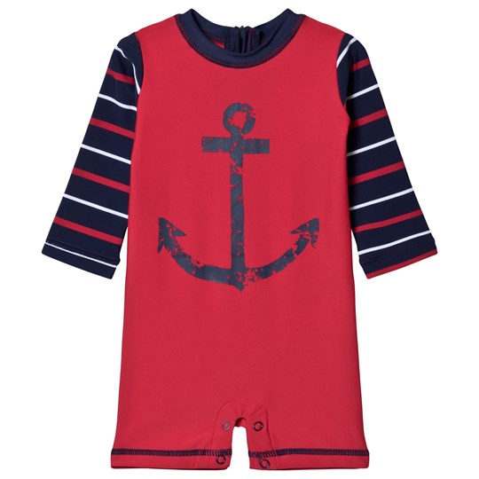 Hatley Nautical Anchor Baby One-piece Rash Guard Red Red