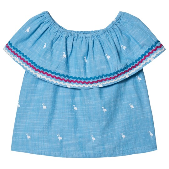 Hatley Fancy Flamingos Skulder Flounce Top Blå Blue