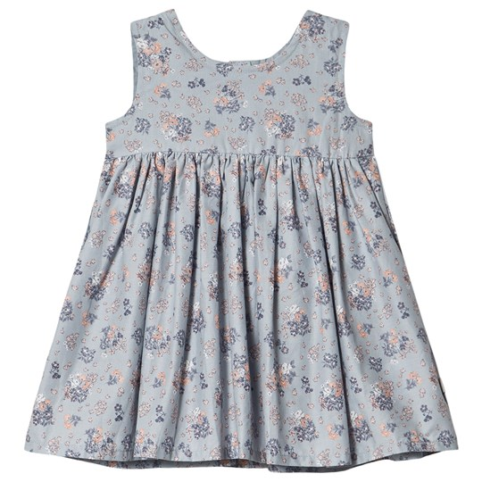 Wheat Pinafore Wrinkles Dress Pearl Blue Flowers Pearl Blue Flowers
