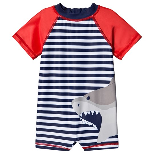 Andy & Evan Stripe and Shark Rash Guard One-Piece Navy LBB