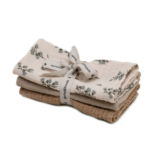 garbo&friends 3-Pack Muslin Burp Cloths Bluebell Multi