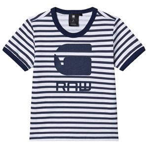 Image of G-STAR RAW White and Blue Stripe G-Star Graphic T-shirt 10 years (1498406)