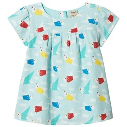 Frugi Meg Top Aqua Origami Flight